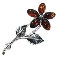 Goldmajor Amber And Sterling Silver Flower Brooch Amber