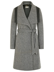 Planet Textured Belted Coat Multi Dark