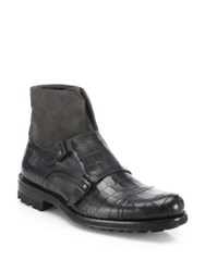 Saks Fifth Avenue Alligator Embossed Leather And Suede Monk Strap Boots Grey