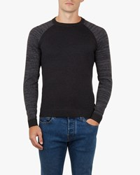 Ted Baker Cornfed Space Dye Crew Neck Top Charcoal Grey