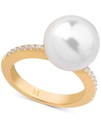 Majorica Marjorica Gold Tone Imitation Pearl And Cubic Zirconia Statement Ring White