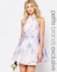 Chi Chi Petite Chi Chi London Petite High Neck Organza Mini Prom Dress In Water Floral Print Multi