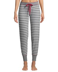 Pj Salvage On Holiday Striped Jersey Jogger Pants Gray White