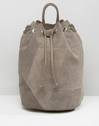 Pieces Drawstring Suede Backpack Grey
