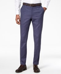 Dkny Men's Slim Fit Stretch Textured Suit Pants Blue