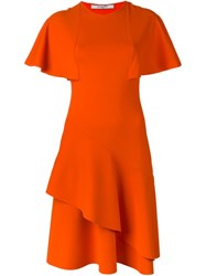 Givenchy Ruffle Panelled Cocktail Dress Yellow And Orange