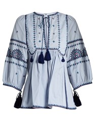 Talitha Tie Front Embroidered Cotton Top Blue Multi