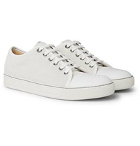 Lanvin Cap Toe Suede And Leather Sneakers White
