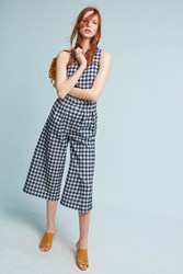 Anthropologie Gingham Jumpsuit White