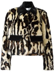 Carven Animal Print Cropped Jacket Brown