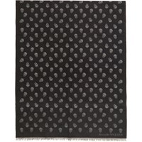 Alexander Mcqueen Black And Grey All Over Skull Scarf