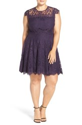 Bb Dakota Plus Size Women's 'Rhianna' Lace Fit And Flare Dress Dark Orchid