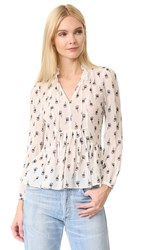 Rebecca Taylor Long Sleeve Tie Neck Top Snow Combo