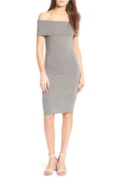 Cupcakes And Cashmere Women's Betsey Off The Shoulder Body Con Dress Light Heather Grey