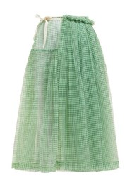 Molly Goddard Lettie Gingham Tulle Wrap Midi Skirt Green