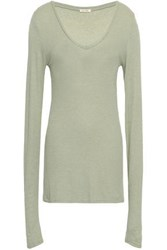 American Vintage Woman Ribbed Knit Jersey Top Grey Green