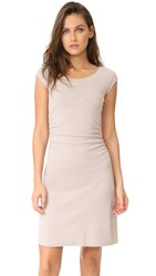 Three Dots Heritage Rib Dress With Ruched Waist Beige Sand
