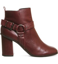 Office Lana Leather Harness Boot Burgundy Leather