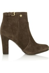 Tory Burch Milan Suede Ankle Boots Chocolate
