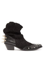 Junya Watanabe Studded Suede Western Ankle Boots Black