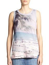 Current Elliott Beach Print Cotton Muscle Tee Multicolor