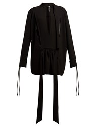 Loewe Tie Neck Contrast Panel Blouse Black