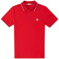 Moncler Classic Contrast Tipped Polo Red