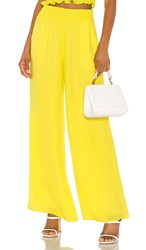 Krisa Smocked Waist Wide Leg Pant In Yellow. Daffodil