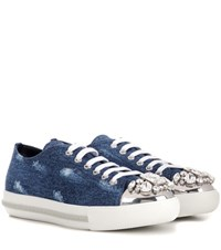Miu Miu Crystal Embellished Denim Sneakers Blue