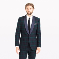 J.Crew Ludlow Shawl Collar Tuxedo Jacket In Black Watch English Wool Blackwatch
