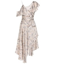 Zimmermann Stranded Wrap Printed Silk Midi Dress Beige