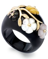 Macy's 14K Gold Over Sterling Silver Ring Onyx 6Mm And Mother Of Pearl 24Mm Flower Ring