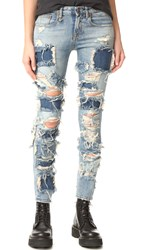 R 13 Alison Crop Jeans Extreme Patch Leyton