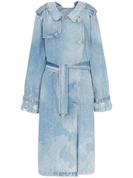 Unravel Project Double Sided Denim Trench Coat Blue