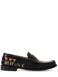 Versace Printed Hearts Leather Loafers Black