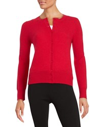 Lord And Taylor Crewneck Cashmere Cardigan Fireball