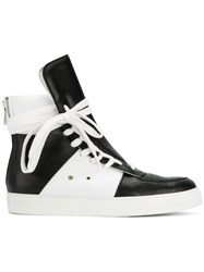 7cca0db399 Kris Van Assche Lace Up Hi Top Sneakers Calf Leather Leather Rubber Black