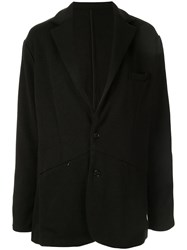 Loveless Front Zipped Pockets Blazer Black