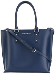 Armani Jeans Double Handles Tote Women Cotton Polyester Viscose One Size Blue