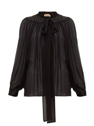 N 21 No. Studded Tie Neck Silk Chiffon Blouse Black