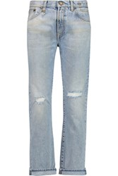 R 13 R13 Bowie Distressed Mid Rise Straight Leg Jeans Light Denim