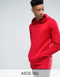 Asos Tall Hoodie With Side Zips Rooney Red