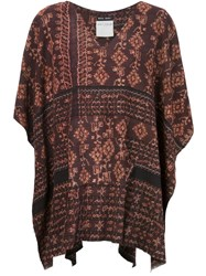 Baja East Ethnic Print Poncho Red
