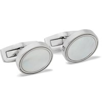 Hugo Boss T Harvey Silver Tone Mother Of Pearl Cufflinks White