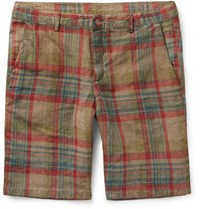 Massimo Alba Vela Watercoloured Dyed Checked Linen Shorts Stone