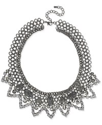 Inc International Concepts Hematite Tone Stone And Pave Statement Necklace Created For Macy's