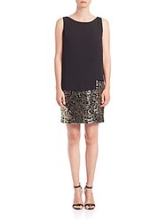 Dawn Levy Sequin Skirt Popover Dress Black Gold