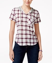 Polly And Esther Juniors' Hooded Short Sleeve Plaid Shirt Ivory Pink