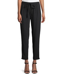 Red Valentino Tapered Leg Crepe Satin Track Pants Black