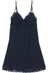 Eberjey Penelope Lace Trimmed Stretch Jersey Chemise Midnight Blue